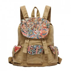 Retro National Floral Printing Canvas Backpack