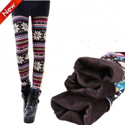 Retro  Folk Style Snow Plus Thick Velvet Leggings