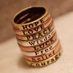 Punk Retro Lettering Wishing Ring