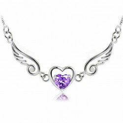 Angel Lover Wing Heart Silver Necklace