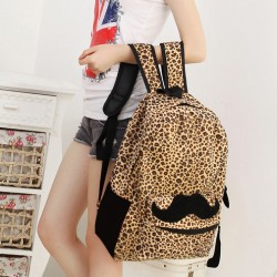 Fashion Style Mustache  With Leopard Print Backpack