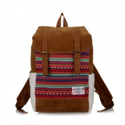 Folk Pattern Berber Fleece Double Hasp School Bag Computer Travel Backpack