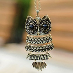 Retro Lovely Owl Sweater Necklace