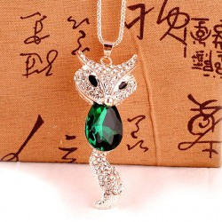 Lovely Fashion Crystal Fox Rhinestone Sweater Necklace