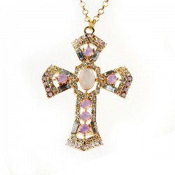 Fashion Diamond Cross Sweater Necklace