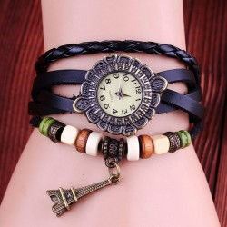 Retro Eiffel Tower Leather Bracelet Watches