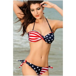 New good American Flag Halter Bikini Swimsuit