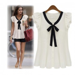 Elegant Bow Short sleeve Chiffon OL Shirt