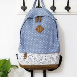 Fresh Blue Denim Dot Lace College Backpack