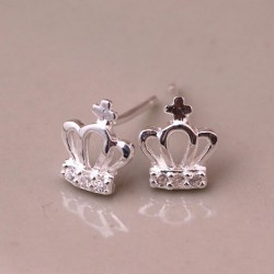 Lovely Crown Silver Earring Stud