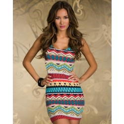 New Rainbow Geometric Printed Bow Sleeveless Dress