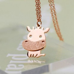 Lovely Little Cattle Animal Frosted Gold Necklace