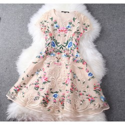 Unique Exquisite Embroidery  Palace Flower Party Dress