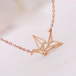Fashion Hollow Crane Bird Necklace/Girls Gift