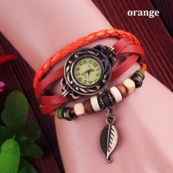 Retro Lovely Leaf Leather Bracelet Watches