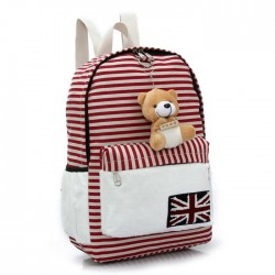 Lovely UK Flag Striped Bear Doll Canvas Backpack