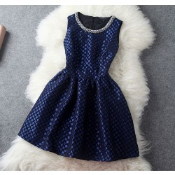 New Retro Blue Handmade Beading Party Dress &Dress