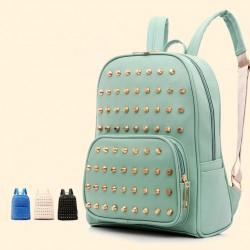 Retro Mint Green Rivet School Backpack