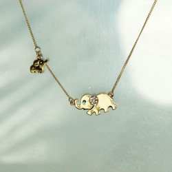 Lovely Mother Elephant Baby Elephant Blue Eyes Diamond Ear Pendant Necklace