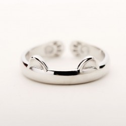 Lovely Cat Ears Catlike Embossing Animals Silver Matte Brief Opening Ring