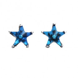 Cute Blue Five-pointed Star Ocean Heart  Mini Silver Girl's Earring Studs