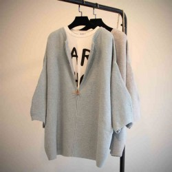 Casual Solid Batwing Raglan Sleeve Zipper Cardigan Loose Brief Sweater