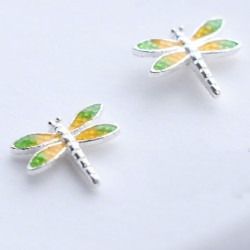 Fresh Yellow Green Vivid Dragonfly Girl's Animal Wings Silver Earring Studs