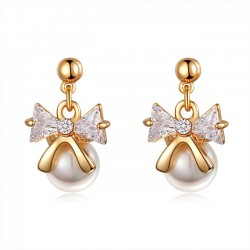 Elegant Bow Knot Pearl Crystal Drop Earrings Studs