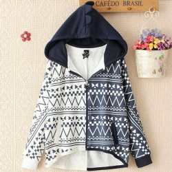 Leisure Geometri Pattern Hooded Batwing Sleeve Cotton Coat