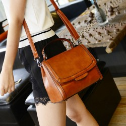 Retro Pure Color Handbag Messenger Bag Shoulder Bag