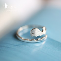 Lovely Frosted Ocean Vivid Whale Wave Open Ring Dolphin Silver Ring