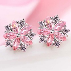 Sweet Pink Flower Cherry Dating Silver Student Girl's Zircon Earrings Studs