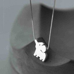 Sweet Silver Elephant Pendant Unique Girl Friend's Gift Silver Animal Women Necklace