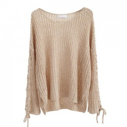 Long-sleeved Hollowed-out Longer Fashion Lace-up Rear Sweater