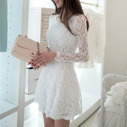 Women's Slim Lace Sexy Long-sleeved Dress