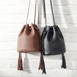 Casual Solid Simple Tassel Drawstring Bucket Bag Messenger Bag Shoulder Bag