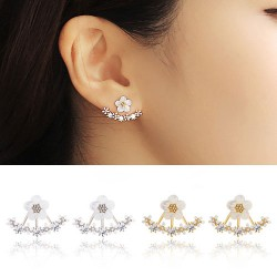 Fresh Gilded Anchor-shaped Gem Flowers Diamond Silver Needle Earrings