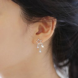 Shining Wish Stars Rhinestone Drop Lady Silver Earrings Studs