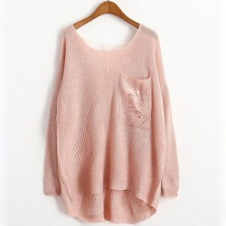 Personality Worn Pocket V Lace Back Sweater