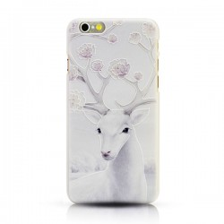 Art Christmas Snow Elk White Relief Fresh IPhone 5/5s/6/6p Cases