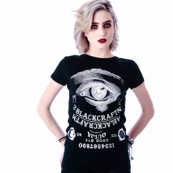 Stylish Creative Eye Alphanumeric Printing Black T-shirt
