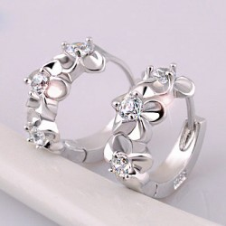Noble Flowers Inlay Crystal Sterling Silver Stylish Circle Earrings