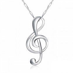 Unique Pure Sterling Silver Polishing Music Note Pendant Necklace