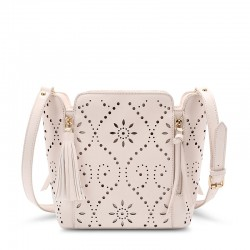 Sweet Solid Hollow Square Tassel Zipper  Handbag