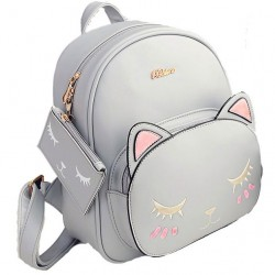 Leisure Kitty Cartoon Kitten Fashion PU Cute Cat Printing School Backpacks