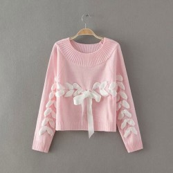 Sweet O-neck Weave Ribbon Raglan Sleeve Bow Knit Loose Short  Sweater