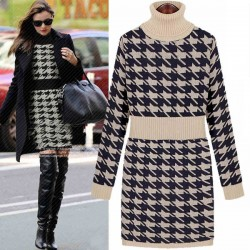 Thick High Collar Plaid Sweater Dress