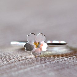 Fresh Silver Cherry Blossoms Yellow Stamen Adjustable Flower Opening Ring