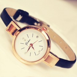 Elegant Ladies Thin Strap Diamond Rose Gold Alloy Quartz Wrist Watch