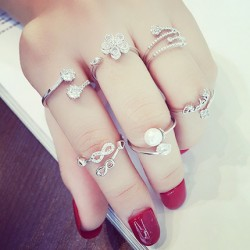 Cute Accessories Love Leaf Flower Fox Bow Pearl Women Rings